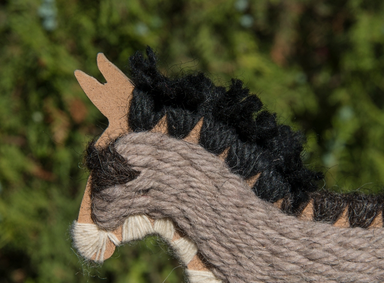 Particular of the mane in the handmade donkey