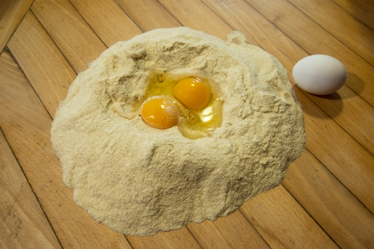 Wheat flour and eggs